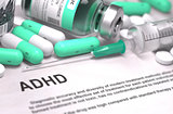 ADHD Diagnosis. Medical Concept. Composition of Medicaments.
