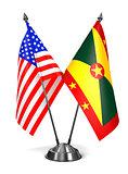 USA and Grenada - Miniature Flags.