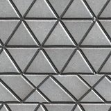 Grey Pave Slabs in the Form of Triangles and Other Geometric Shapes.