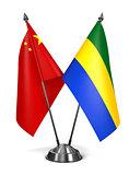 China and Gabon - Miniature Flags.