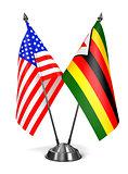 USA and Zimbabwe - Miniature Flags.