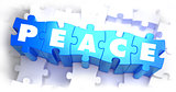 Peace - Text on Blue Puzzles.
