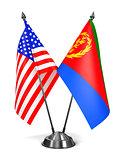 USA and Eritrea - Miniature Flags.
