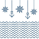 Blue and white nautical template