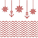 Red and white nautical template