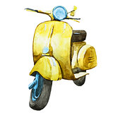 Watercolor vintage scooter