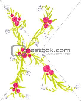 """Floral illustration of letter """"k"""""""