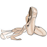 Hand-drawn style pointe shoes.