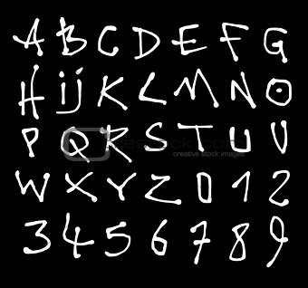 liquid font and number alphabet over black
