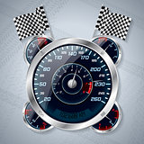 Speedometer with rev counter and race flags