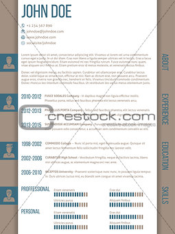 Cv resume template with side categories