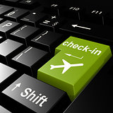 Online check in flight on green keyboard