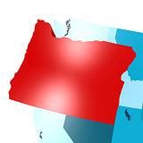 Oregon map on blue USA map