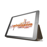 Privatisation word cloud on tablet
