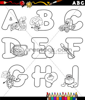 cartoon alphabet for coloring book