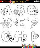cartoon alphabet coloring page