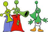 alien characters cartoon illustration