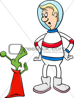 astronaut with alien cartoon