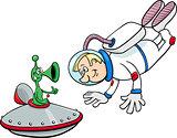 spaceman with alien cartoon