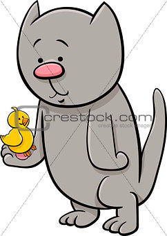 cat with canary cartoon illustration