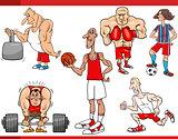 sportsmen and sports cartoon set