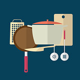 Kitchen utensils. Flat design.