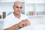 Man receiving head massage