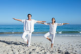 Happy couple doing yoga beside the water