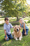 Sibling with their dog in the park
