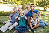 Happy family gesturing thumbs up in the park