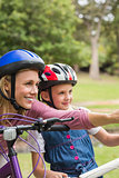 Mother and her daughter on their bike
