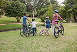 Family on their bike at the park