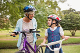 Grandmother and daughter on their bike