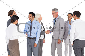 Business people speaking together