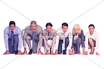 Business people preparing to run