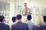 Businessman doing speech during meeting