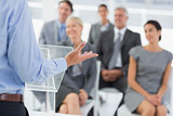 Businessman doing conference presentation