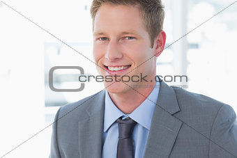 Smiling businessman looking at camera