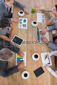 Business team discussing the graphs