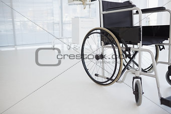 Black wheelchair in hospital
