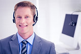 Handsome agent wearing headset