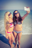 two friends in swimsuits taking a selfie
