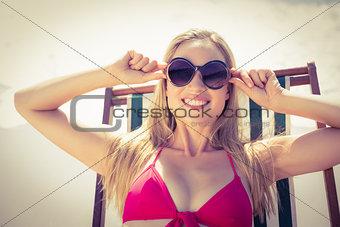 beautiful blonde woman at the beach