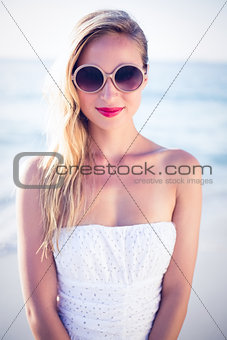 beautiful blonde woman at the beach