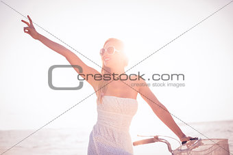 Beautiful blonde on bike ride