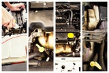 Composite image of mechanic working under the hood