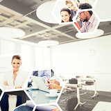 Composite image of college classroom