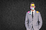 Composite image of businessman with post its on face