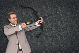 Composite image of businessman shooting arrow