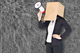 Composite image of anonymous businesswoman holding a megaphone